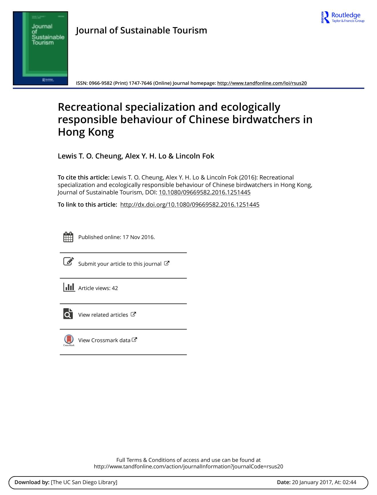 Book cover Recreational specialization and ecologically responsible behaviour of Chinese birdwatchers in Hong Kong