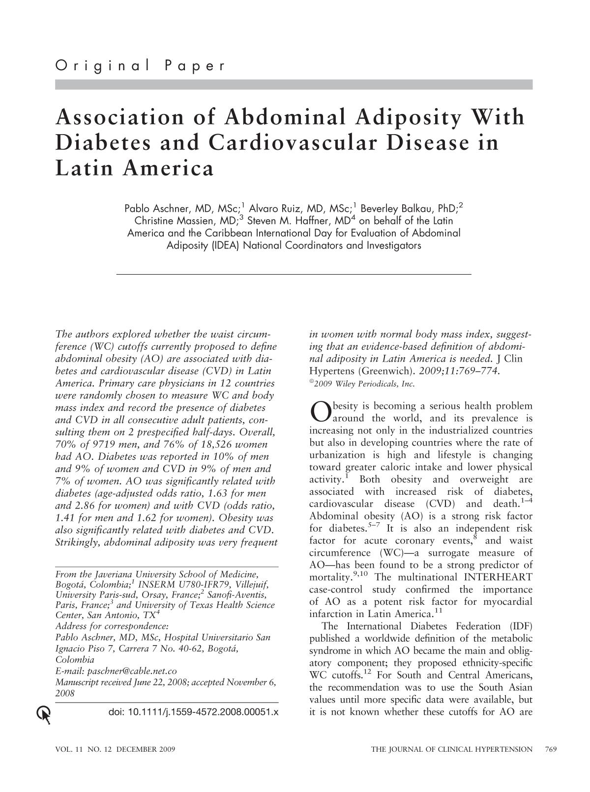 Book cover Association of Abdominal Adiposity With Diabetes and Cardiovascular Disease in Latin America