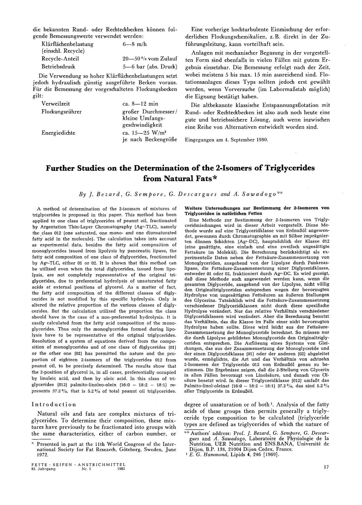 Book cover Further Studies on the Determination of the 2-Isomers of Triglycerides from Natural Fats