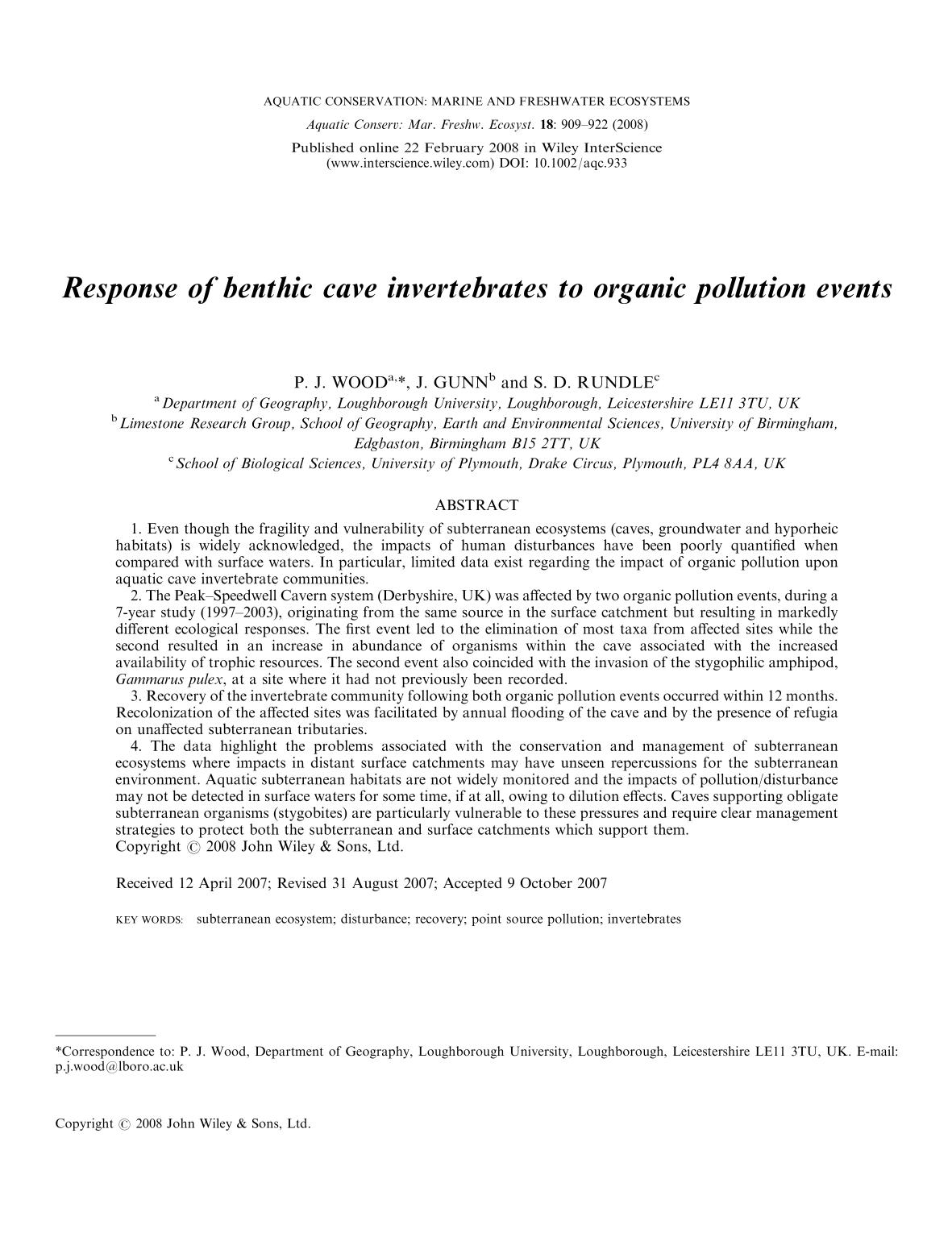 Book cover Response of benthic cave invertebrates to organic pollution events