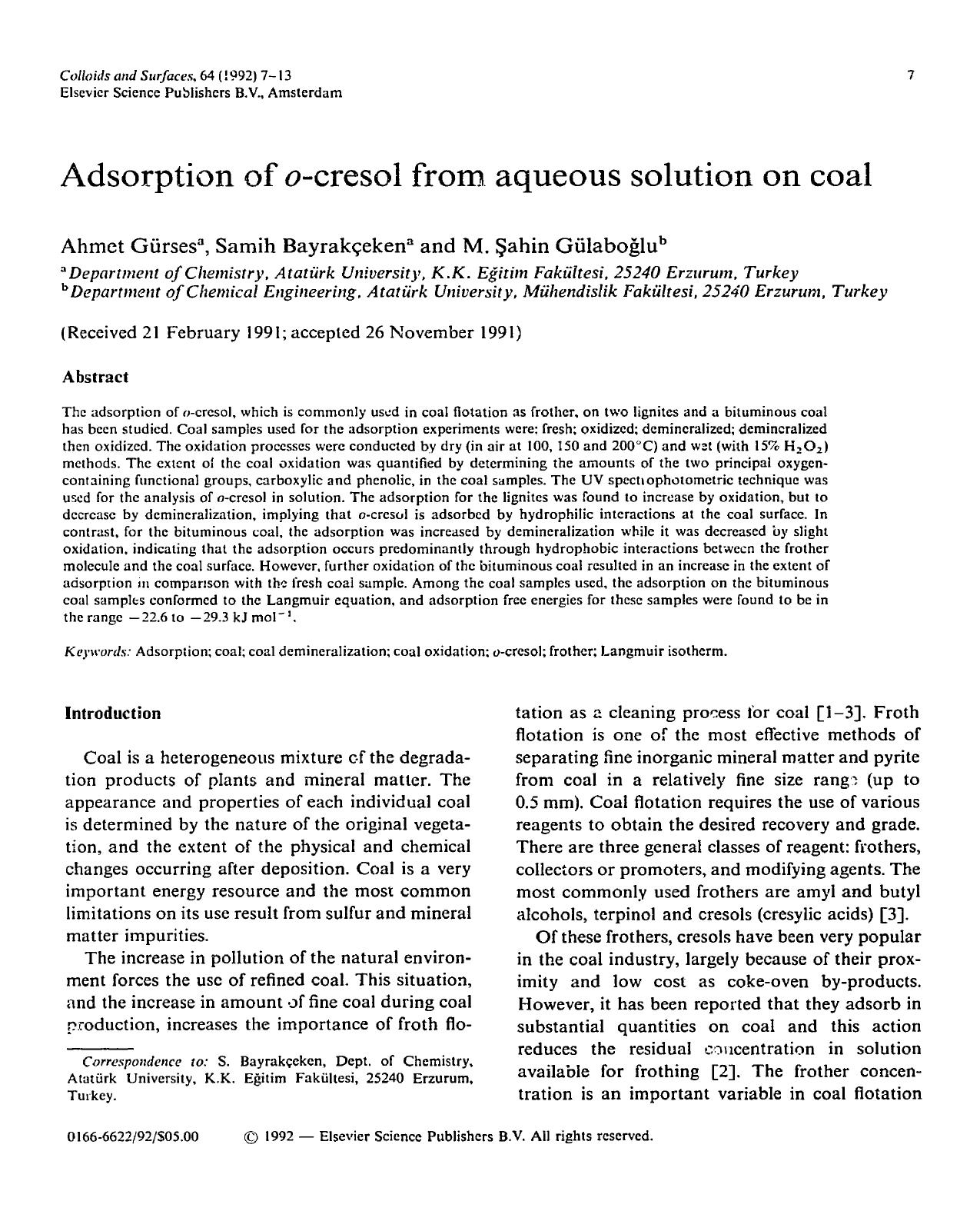 書籍の表紙 Adsorption of o-cresol from aqueous solution on coal