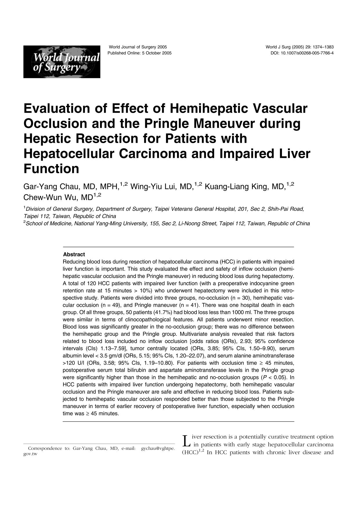 Book cover Evaluation of Effect of Hemihepatic Vascular Occlusion and the Pringle Maneuver during Hepatic Resection for Patients with Hepatocellular Carcinoma and Impaired Liver Function