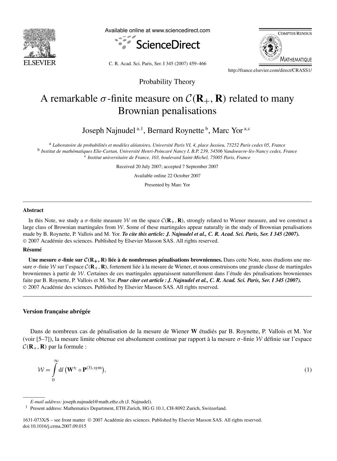 Book cover A remarkable σ-finite measure on related to many Brownian penalisations