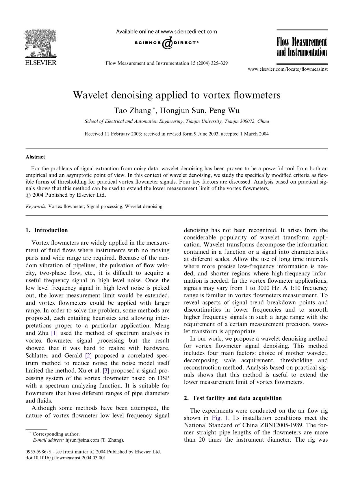 Book cover Wavelet denoising applied to vortex flowmeters