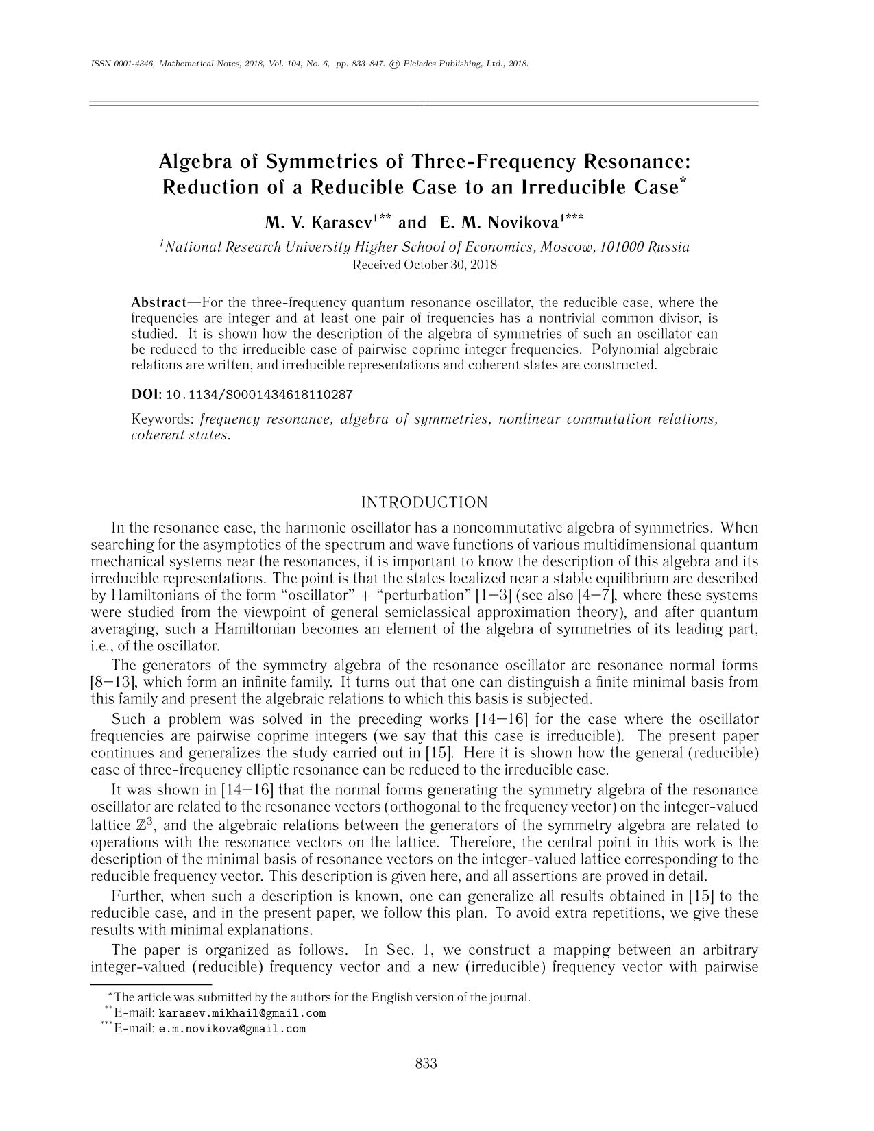 Book cover Algebra of Symmetries of Three-Frequency Resonance: Reduction of a Reducible Case to an Irreducible Case