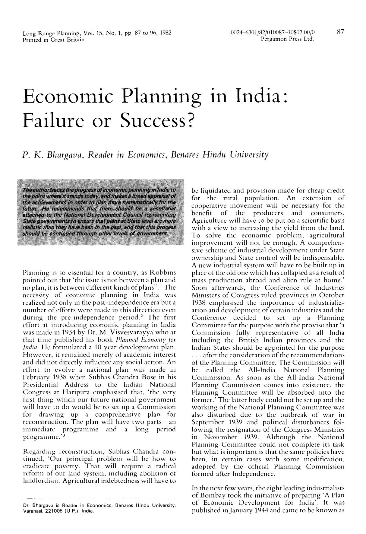 Book cover Economic planning in India: Failure or success?