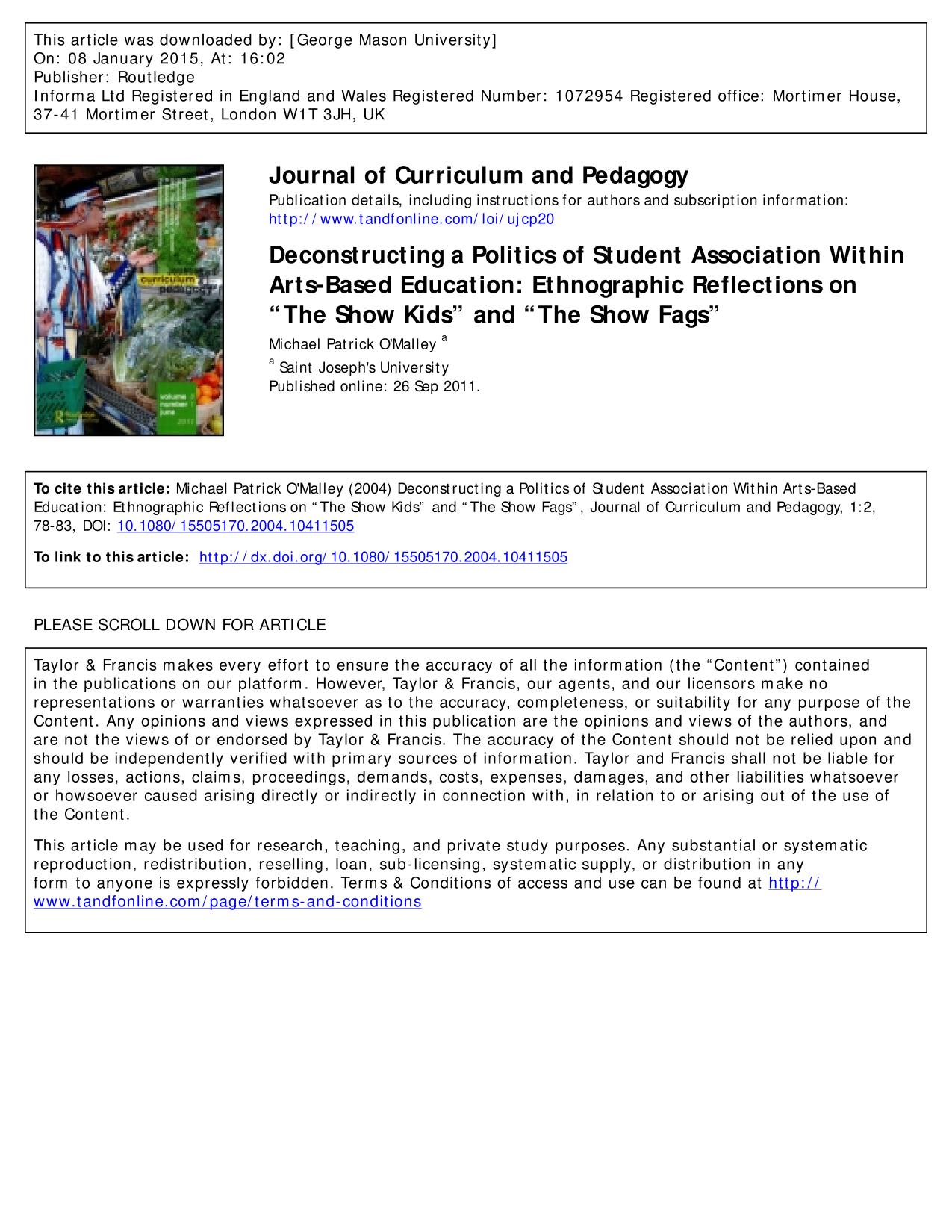 "Book cover Deconstructing a Politics of Student Association Within Arts-Based Education: Ethnographic Reflections on ""The Show Kids"" and ""The Show Fags"""