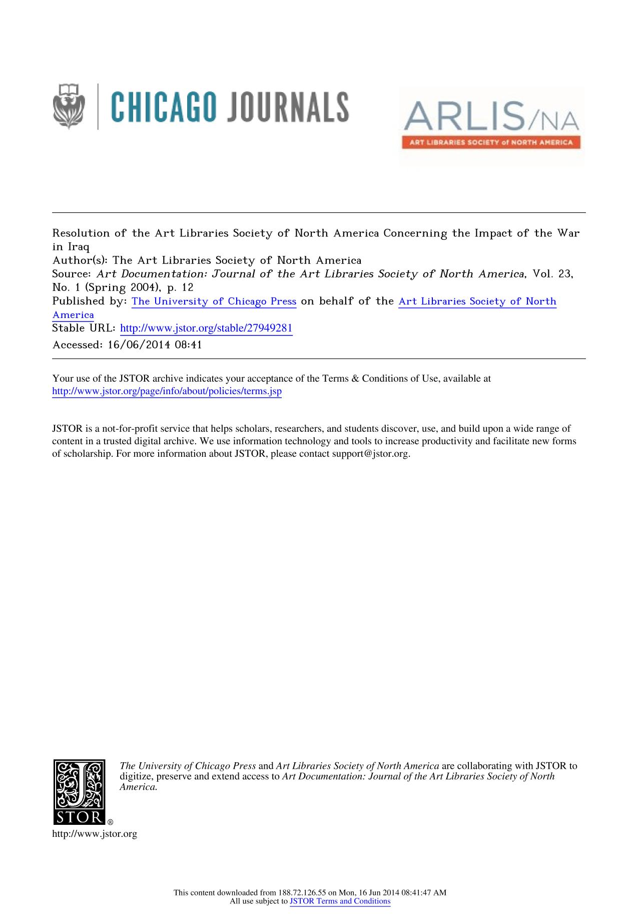 Book cover Resolution of the Art Libraries Society of North America Concerning the Impact of the War in Iraq