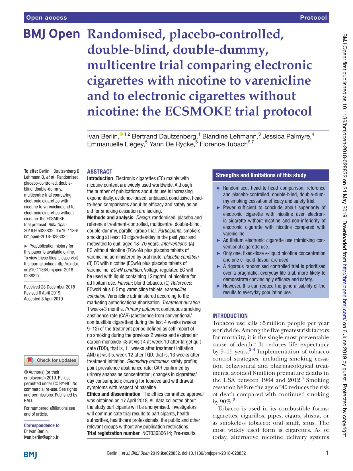 Book cover Randomised, placebo-controlled, double-blind, double-dummy, multicentre trial comparing electronic cigarettes with nicotine to varenicline and to electronic cigarettes without nicotine: the ECSMOKE trial protocol