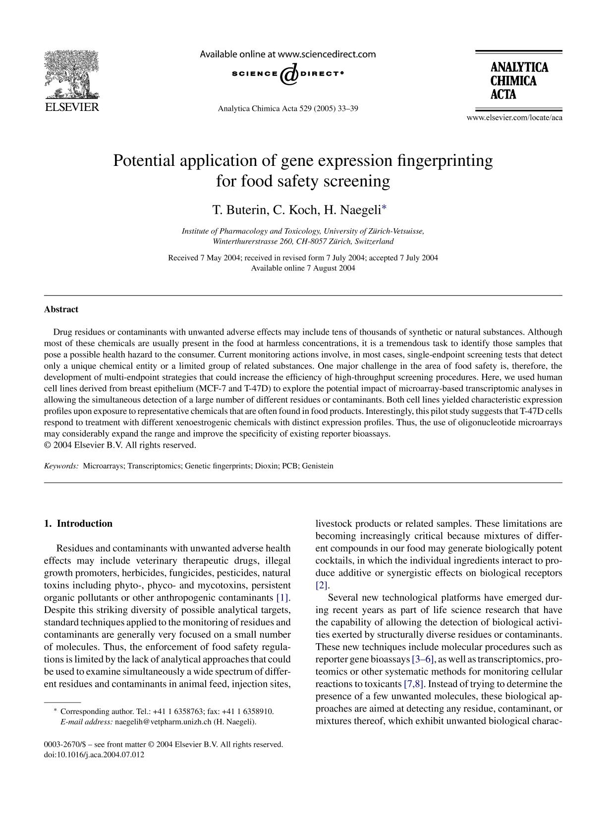 Book cover Potential application of gene expression fingerprinting for food safety screening