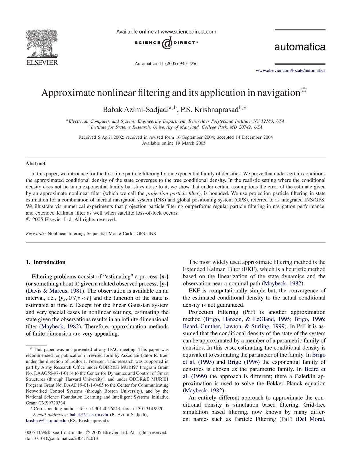 Book cover Approximate nonlinear filtering and its application in navigation