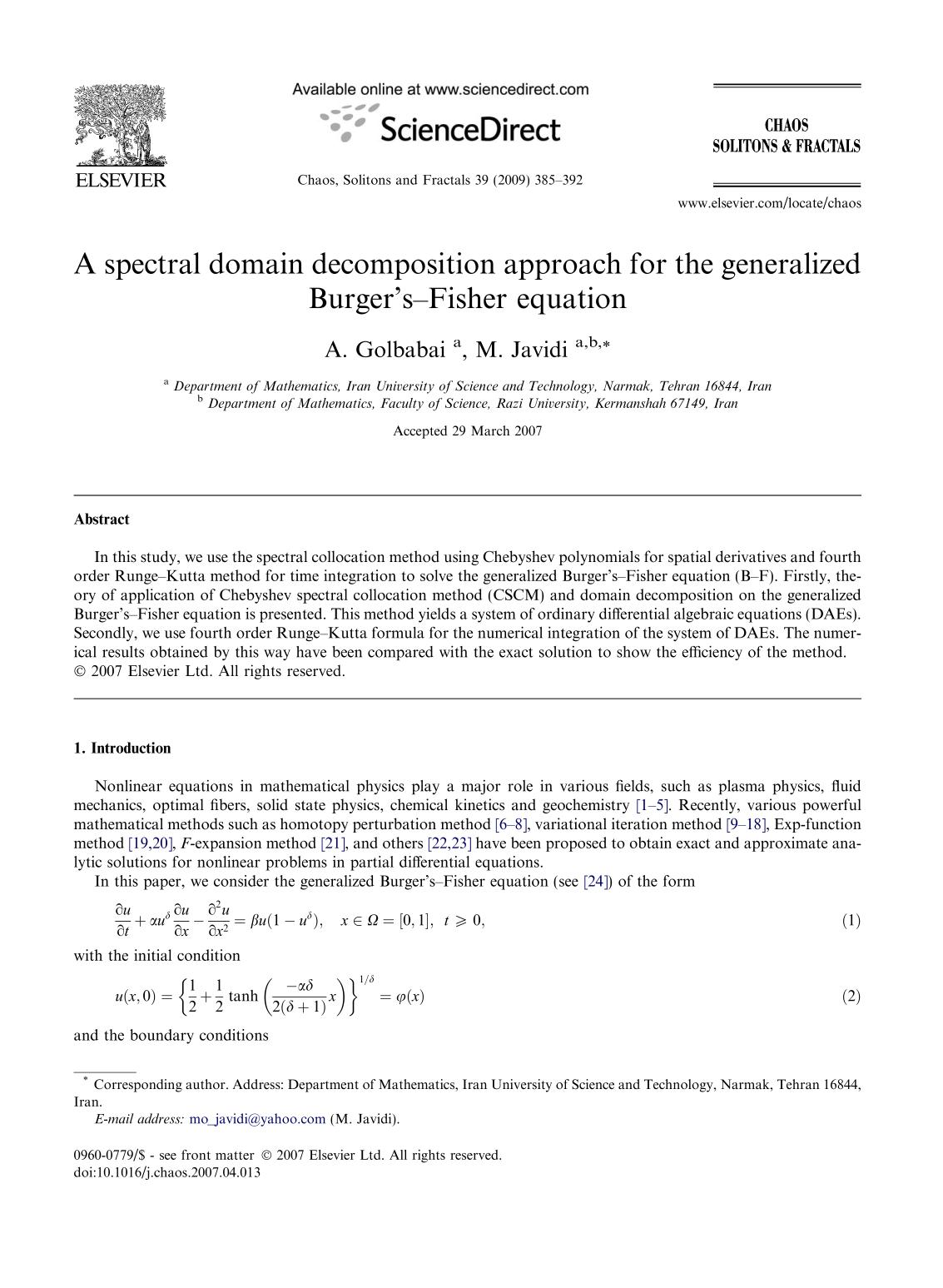 Book cover A spectral domain decomposition approach for the generalized Burger's–Fisher equation