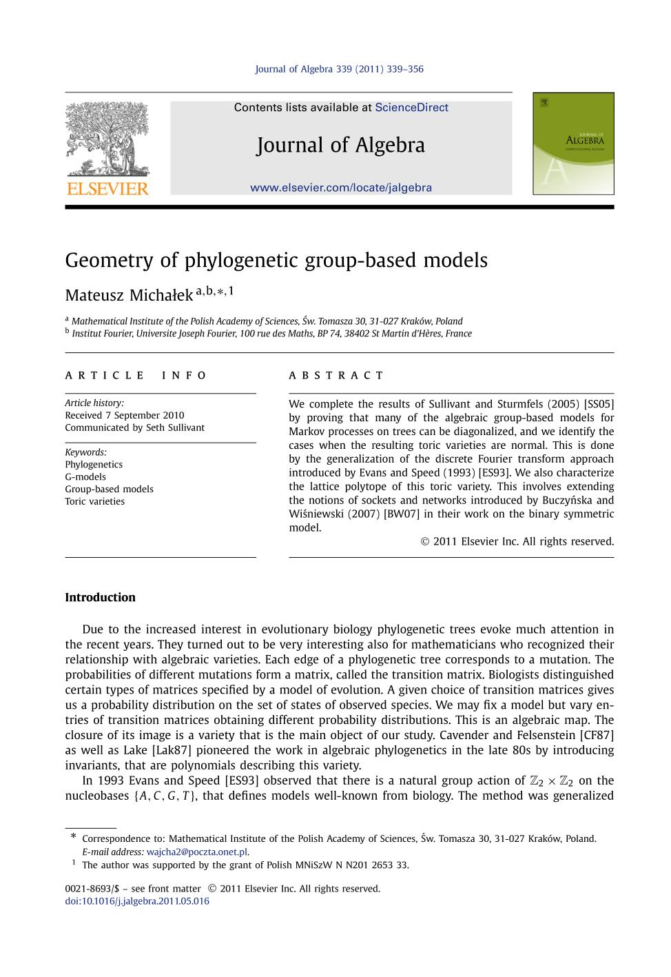 Book cover Geometry of phylogenetic group-based models