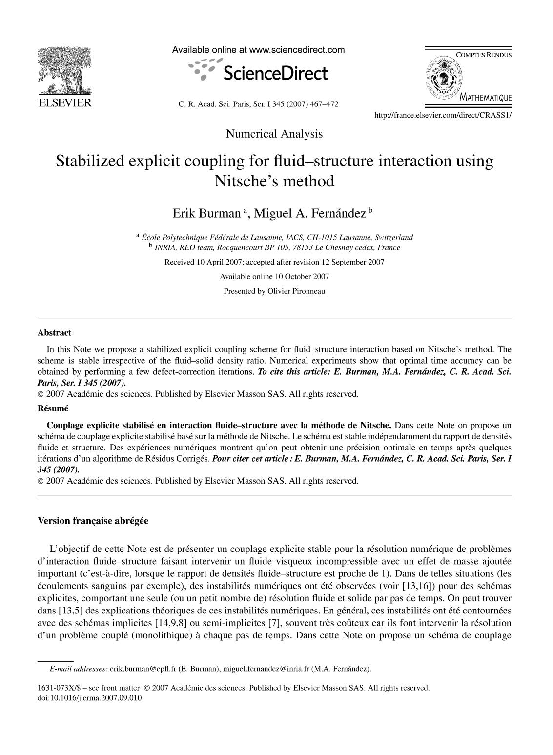 Book cover Stabilized explicit coupling for fluid–structure interaction using Nitsche's method