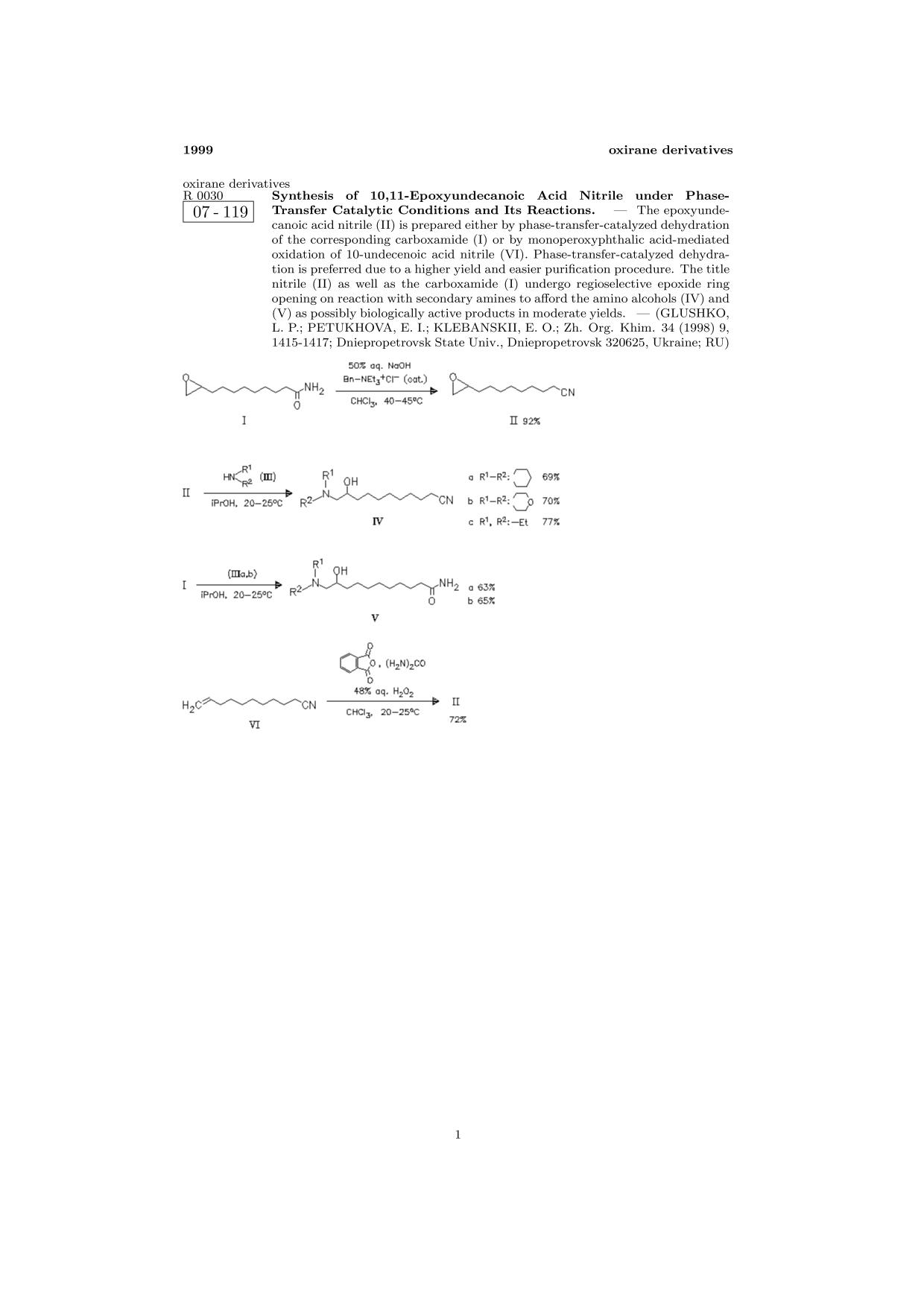Kover buku ChemInform Abstract: Synthesis of 10,11-Epoxyundecanoic Acid Nitrile under Phase-Transfer Catalytic Conditions and Its Reactions.<span></span>