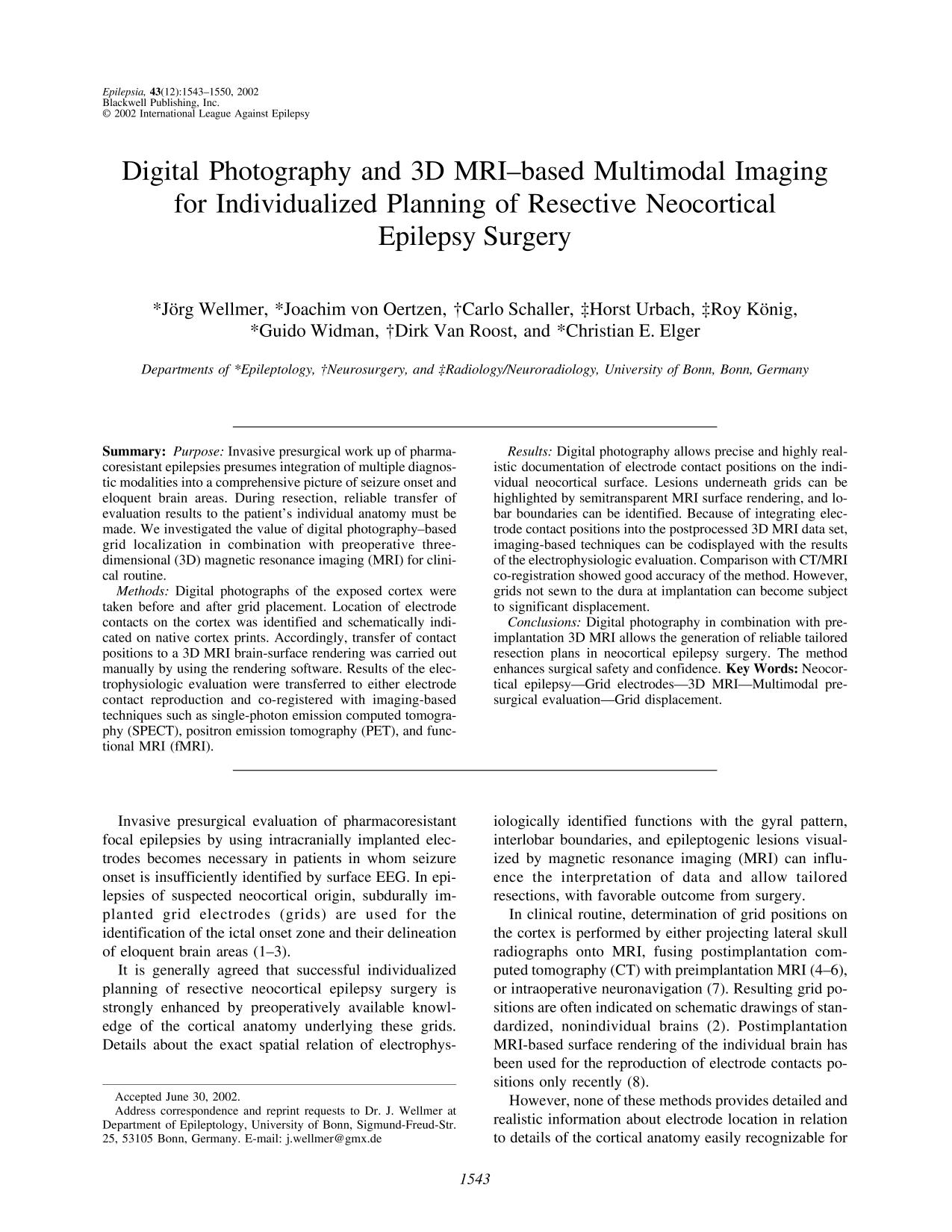 Book cover Digital Photography and 3D MRI–based Multimodal Imaging for Individualized Planning of Resective Neocortical Epilepsy Surgery