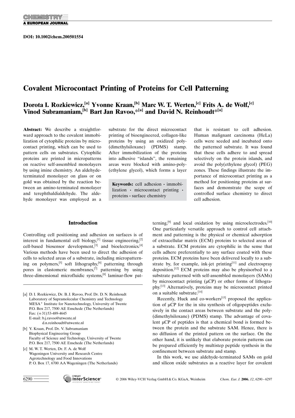 Book cover Covalent Microcontact Printing of Proteins for Cell Patterning