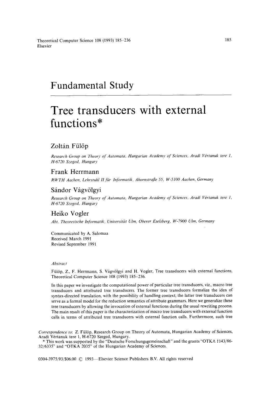 Book cover Tree transducers with external functions