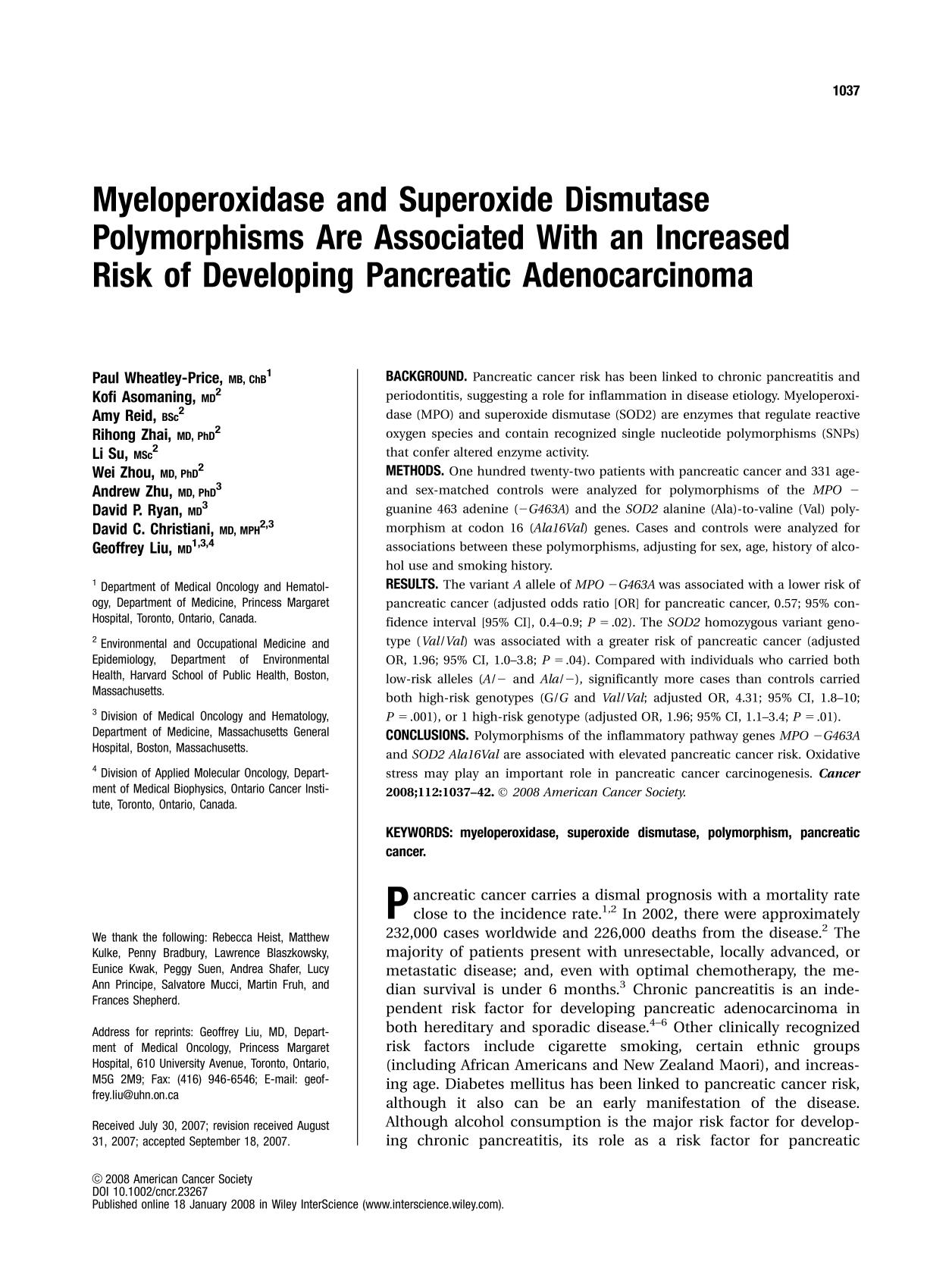 Book cover Myeloperoxidase and superoxide dismutase polymorphisms are associated with an increased risk of developing pancreatic adenocarcinoma