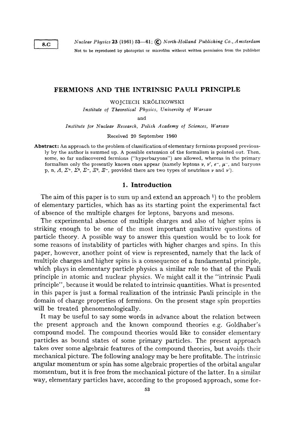 Book cover Fermions and the intrinsic Pauli principle