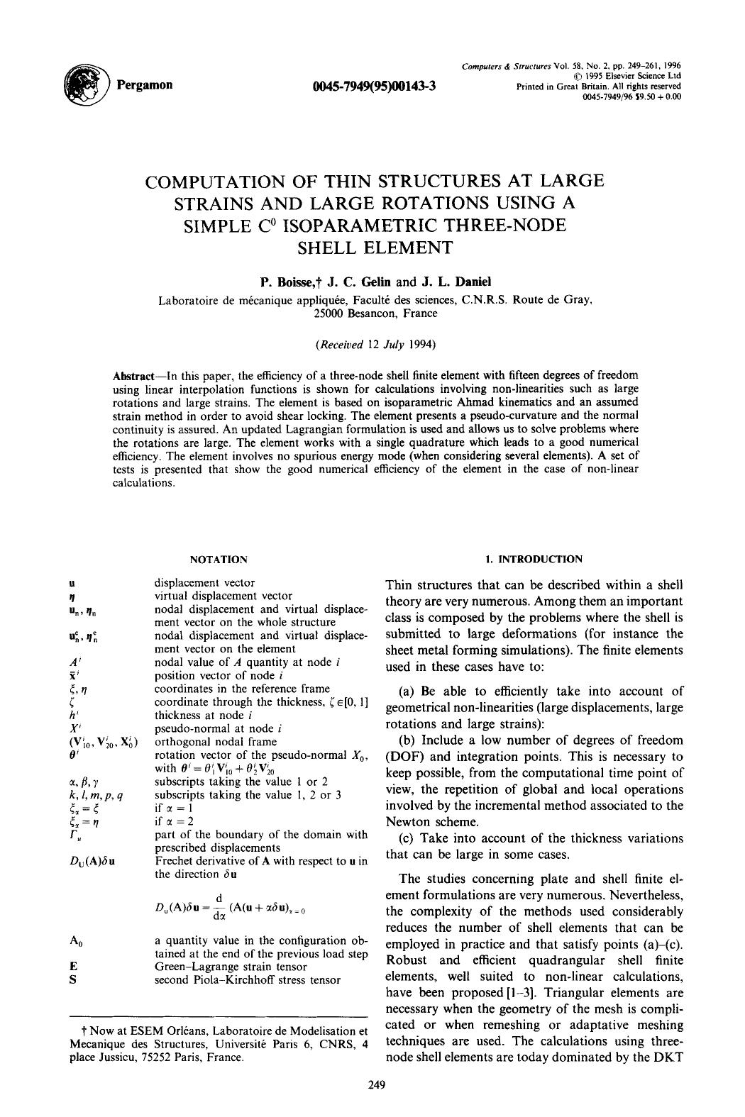 Book cover Computation of thin structures at large strains and large rotations using a simple C0 isoparametric three-node shell element