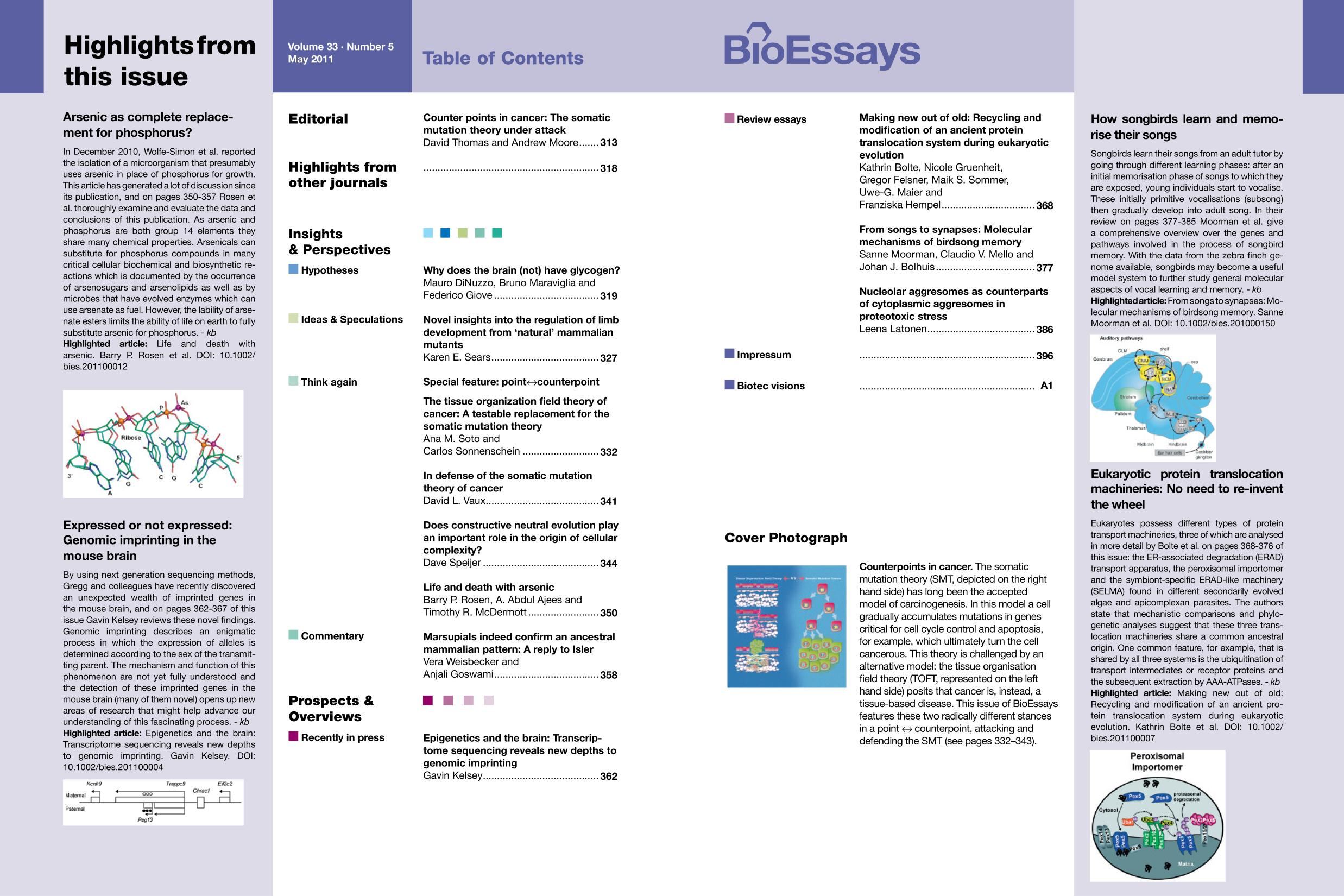 Book cover BioEssays 5/2011