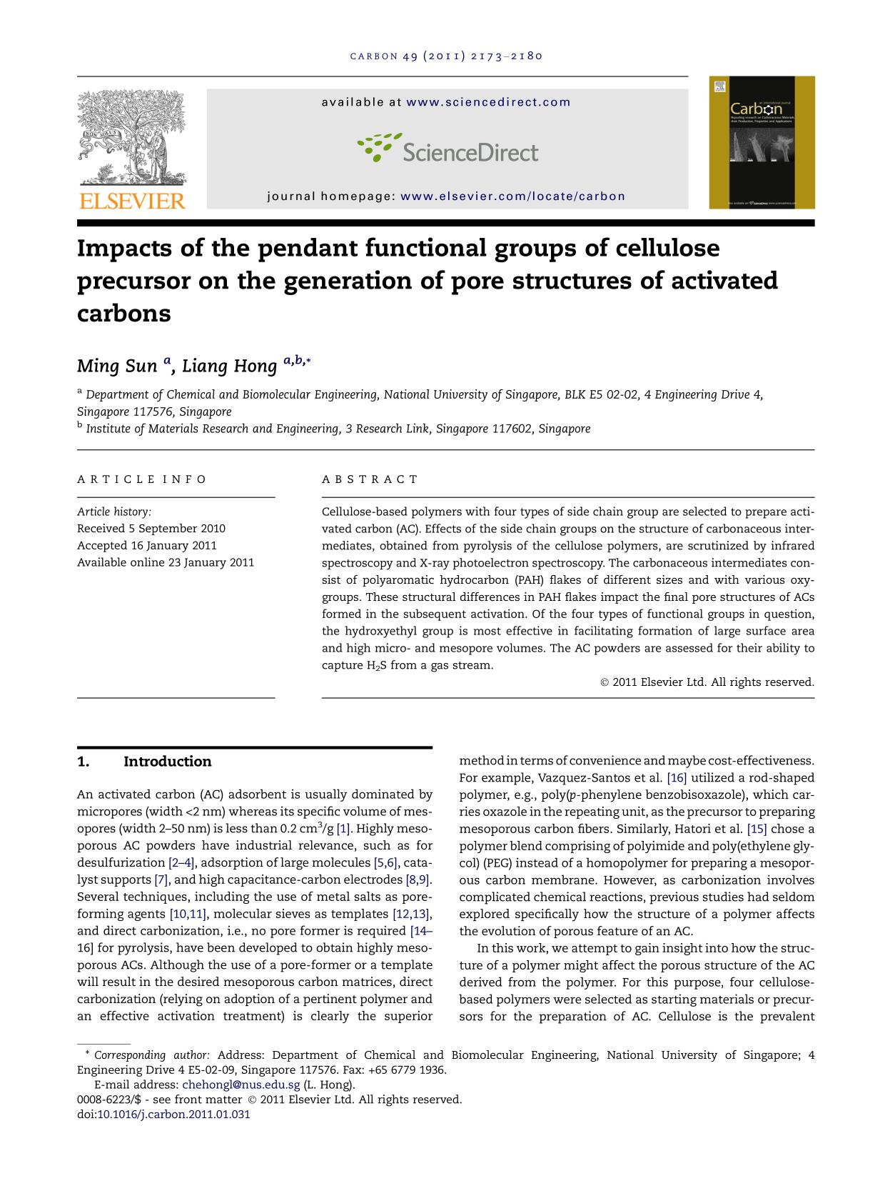 Book cover Impacts of the pendant functional groups of cellulose precursor on the generation of pore structures of activated carbons