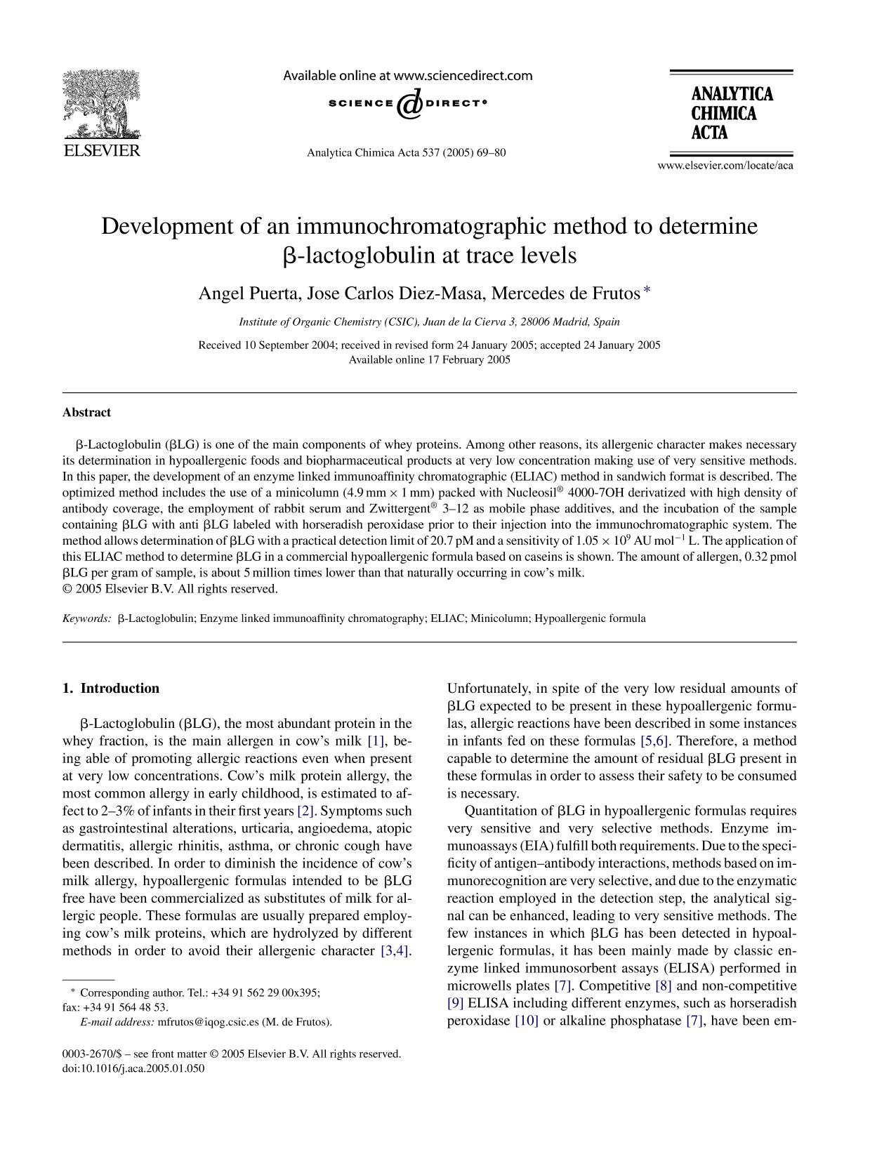 Book cover Development of an immunochromatographic method to determine β-lactoglobulin at trace levels