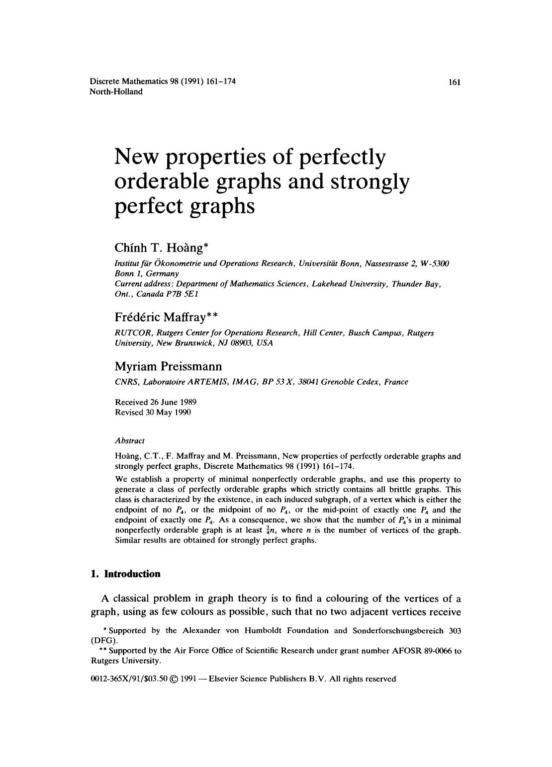 Book cover New properties of perfectly orderable graphs and strongly perfect graphs