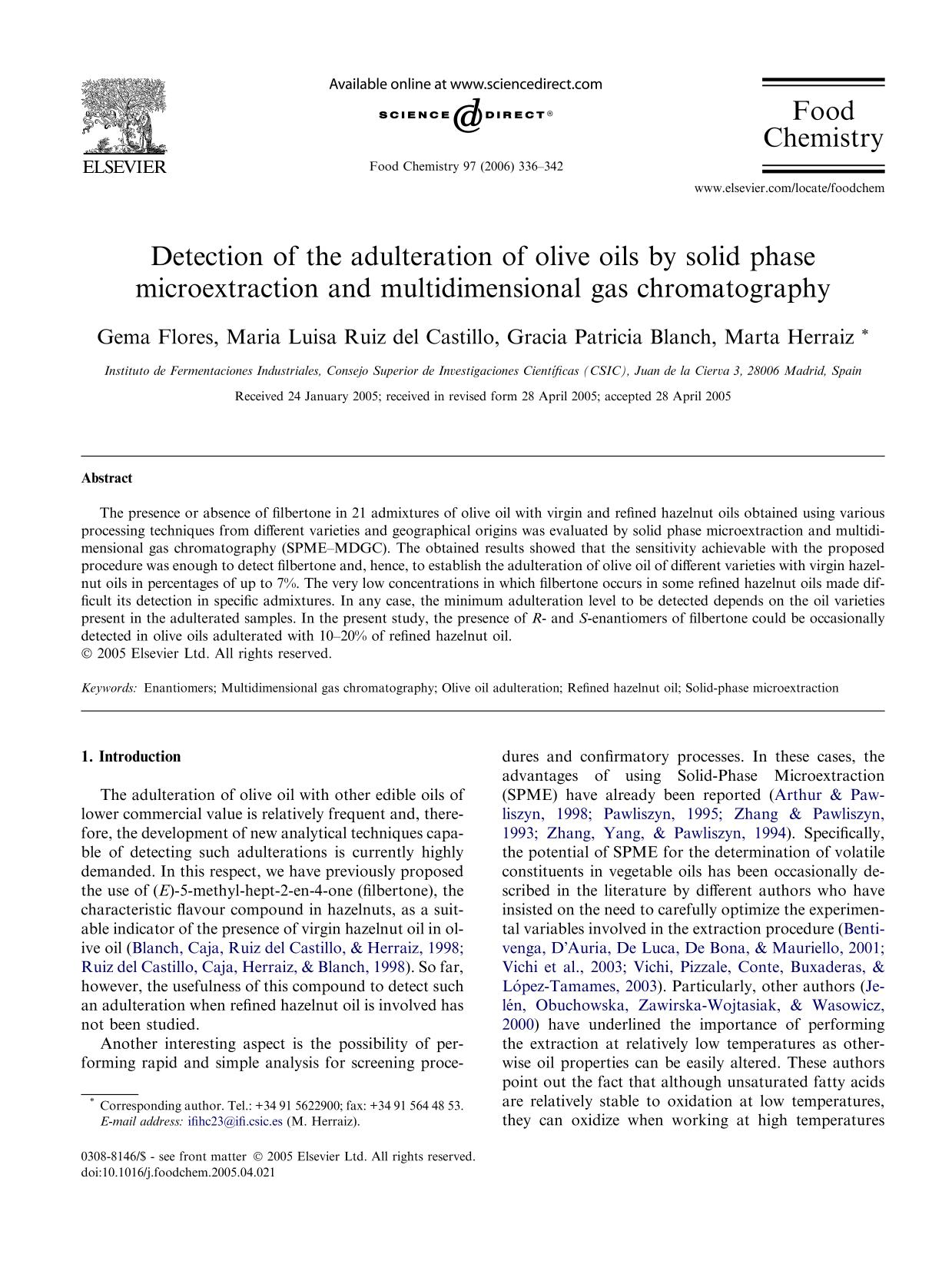 Book cover Detection of the adulteration of olive oils by solid phase microextraction and multidimensional gas chromatography