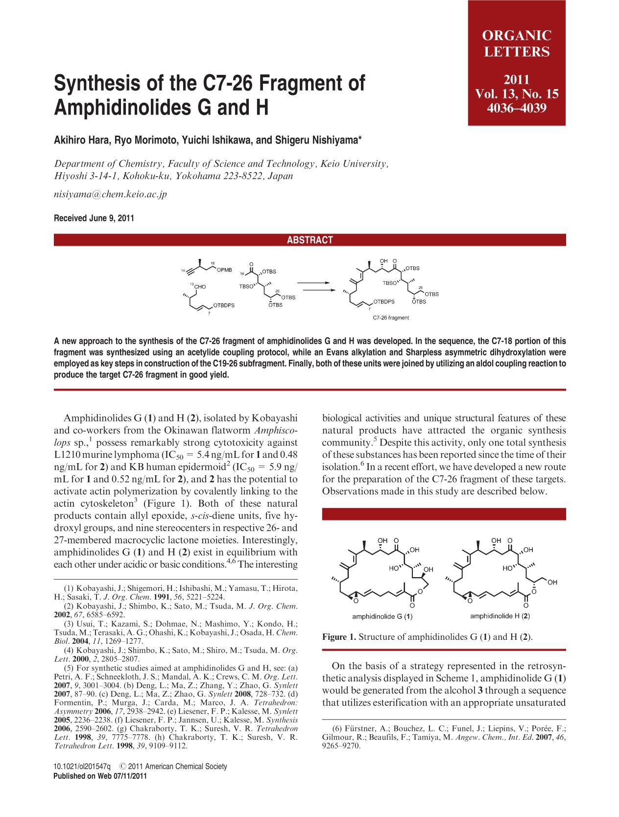 Book cover Synthesis of the C7-26 Fragment of Amphidinolides G and H