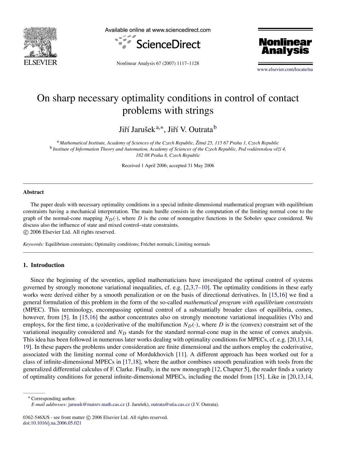 Book cover On sharp necessary optimality conditions in control of contact problems with strings