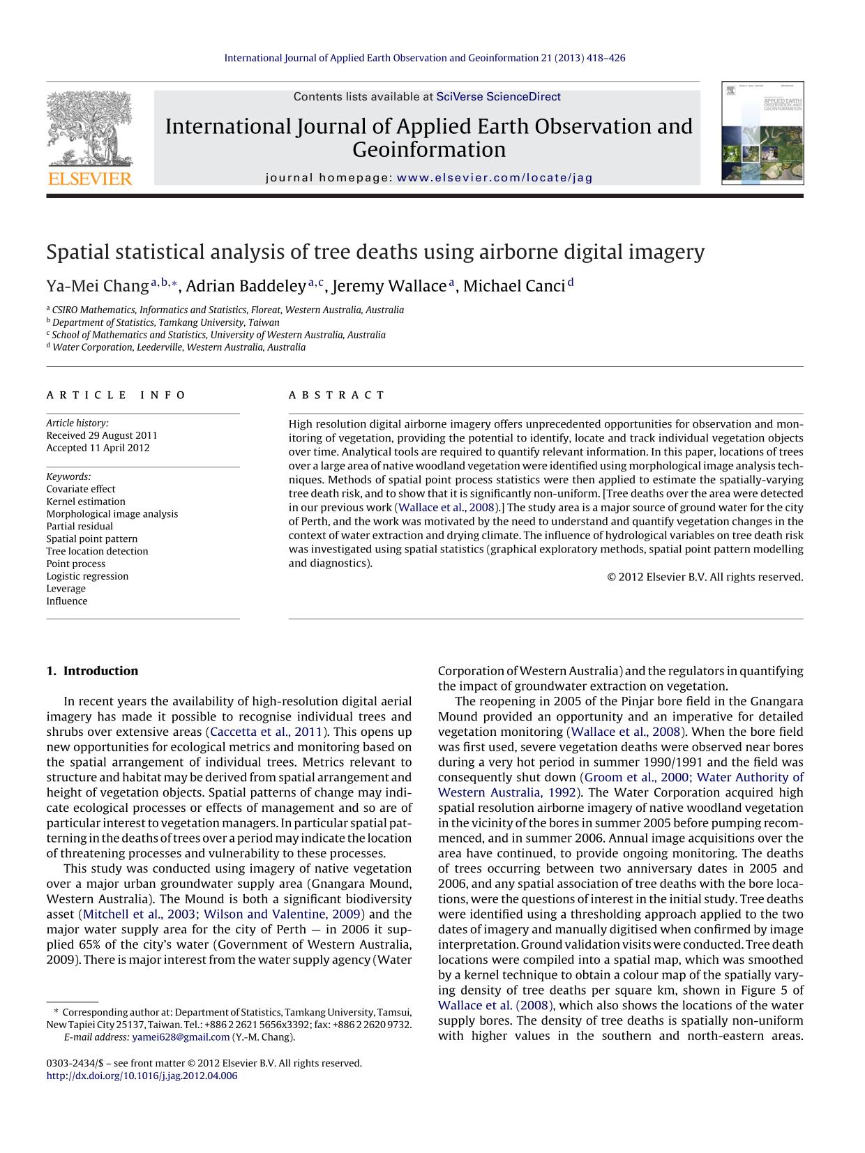 Book cover Spatial statistical analysis of tree deaths using airborne digital imagery