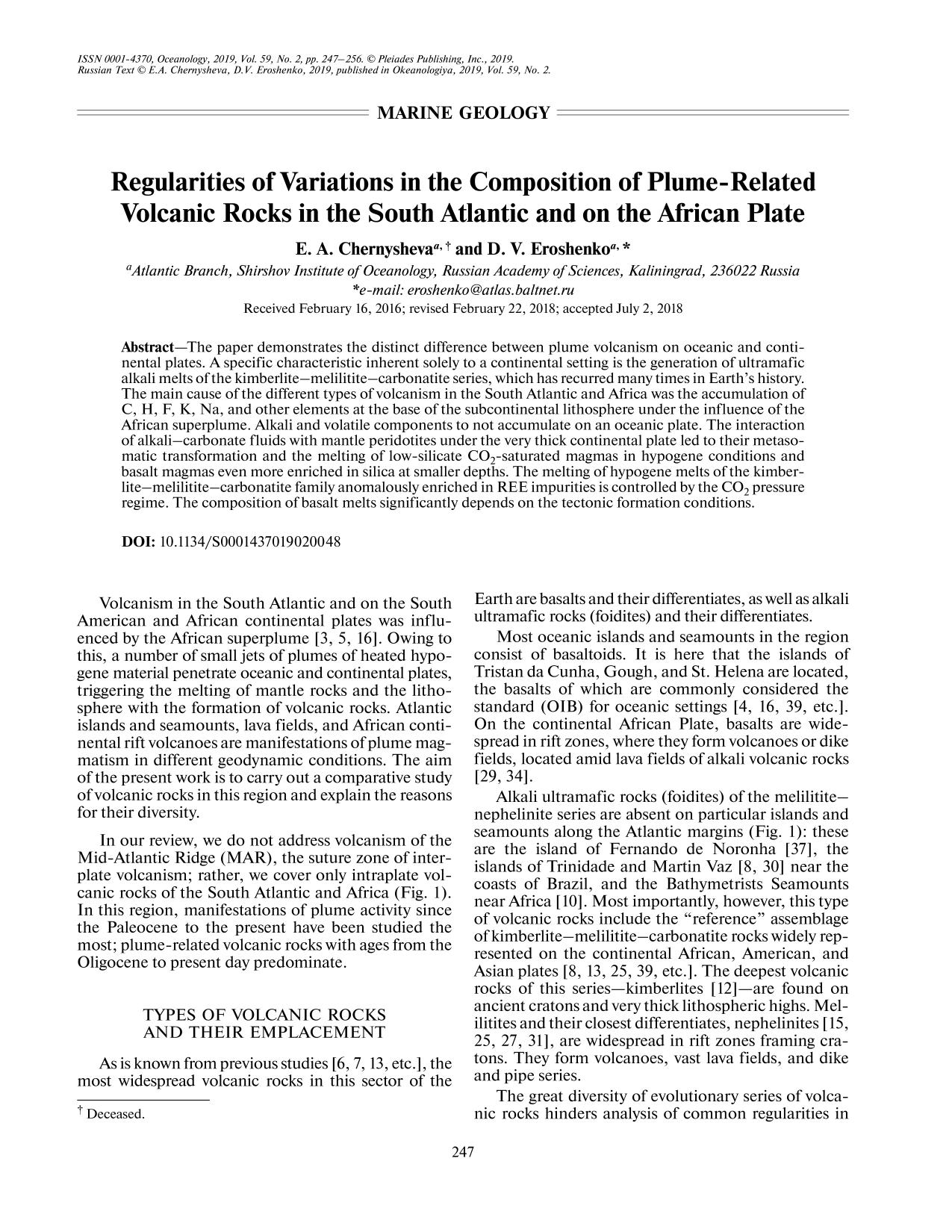 Book cover Regularities of Variations in the Composition of Plume-Related Volcanic Rocks in the South Atlantic and on the African Plate