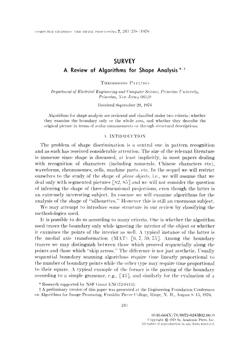 Book cover A review of algorithms for shape analysis