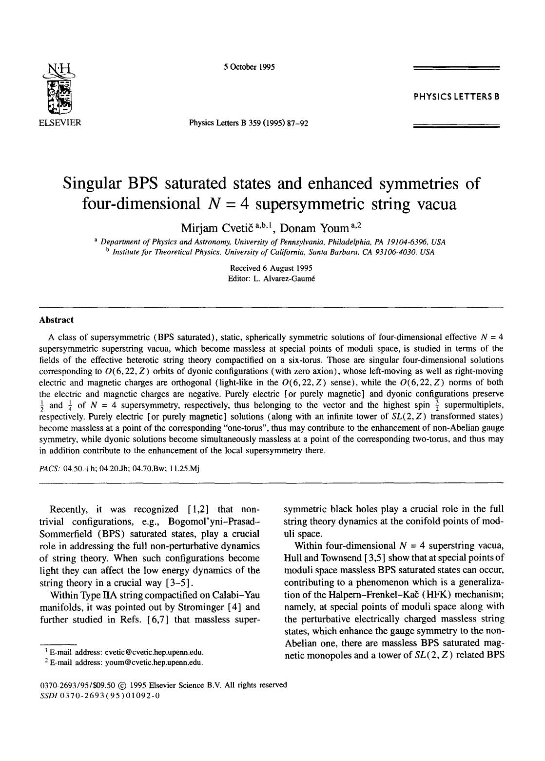 Book cover Singular BPS saturated states and enhanced symmetries of four-dimensional N = 4 supersymmetric string vacua