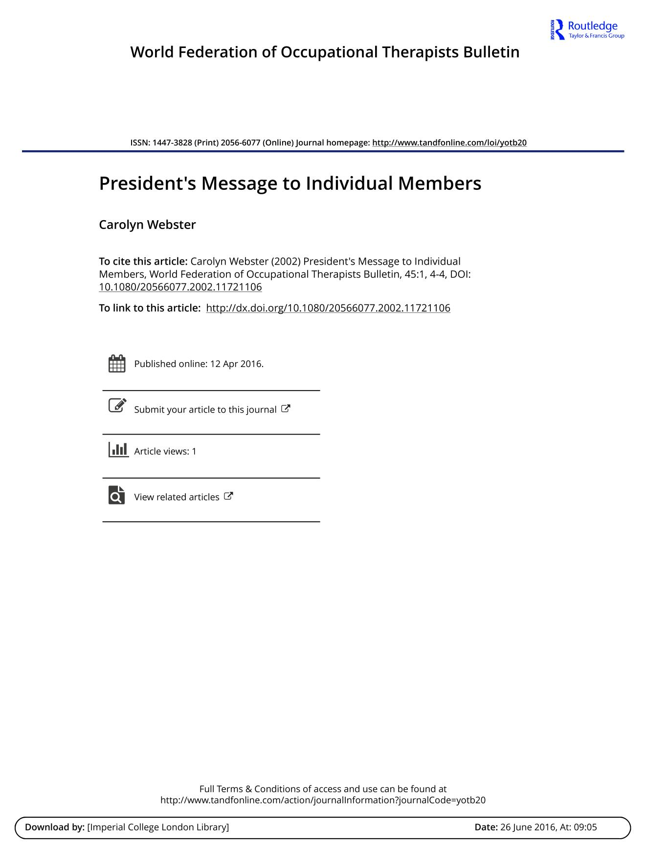 Book cover President's Message to Individual Members