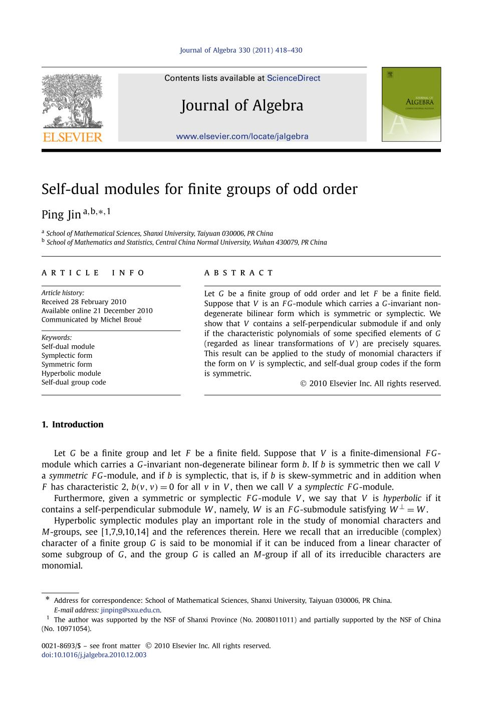 Book cover Self-dual modules for finite groups of odd order