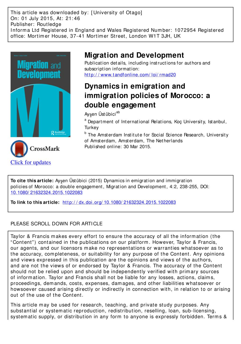 Book cover Dynamics in emigration and immigration policies of Morocco: a double engagement