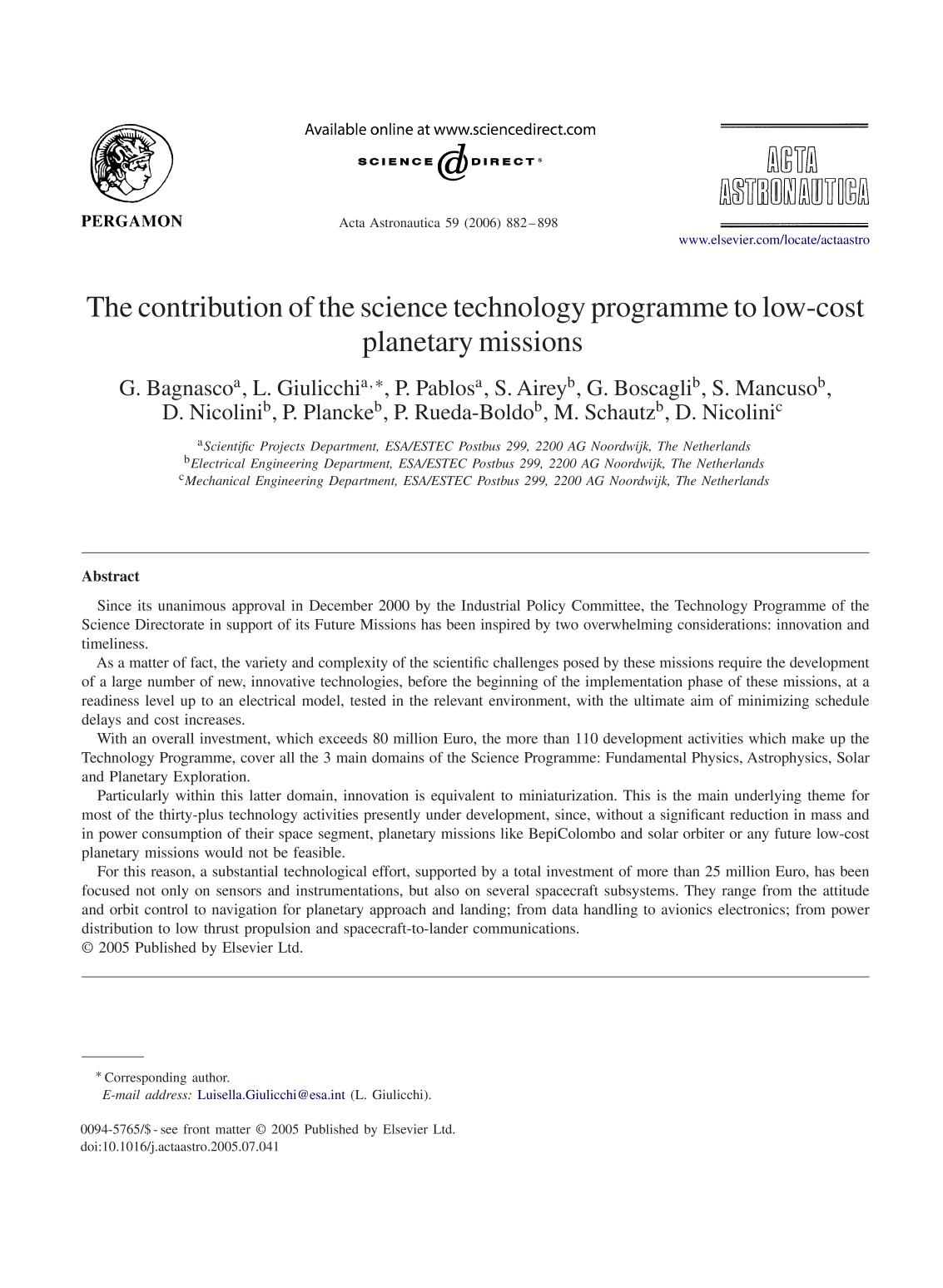 書籍の表紙 The contribution of the science technology programme to low-cost planetary missions