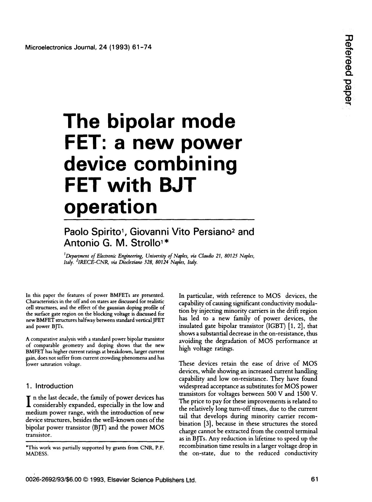 Book cover The bipolar mode FET: a new power device combining FET with BJT operation