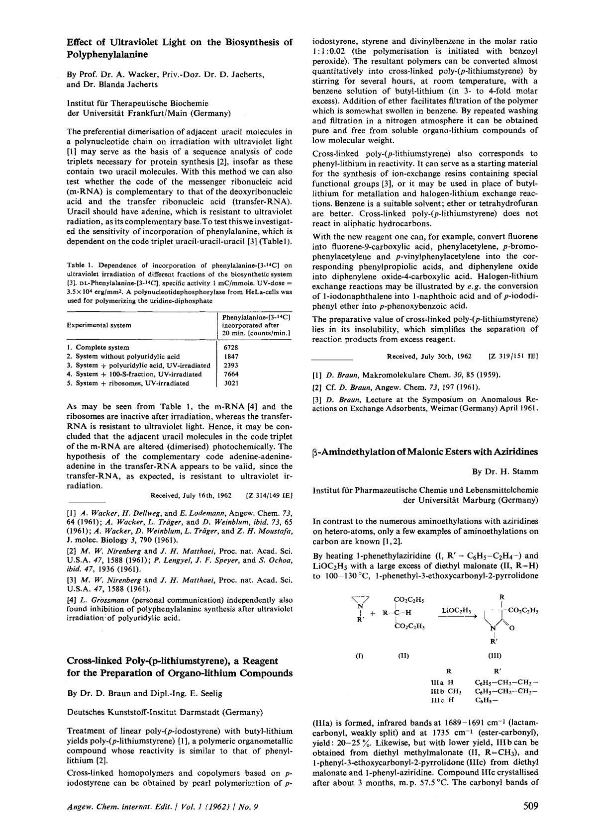 Book cover Cross-linked Poly-(p-lithiumstyrene), a reagent for the Preparation of Organo-lithium Compounds