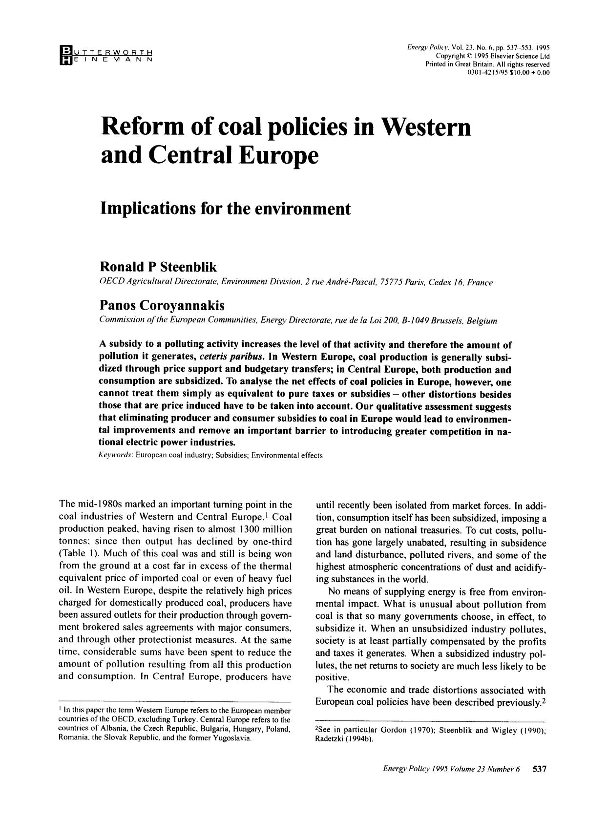 Book cover Reform of coal policies in Western and Central Europe: Implications for the environment