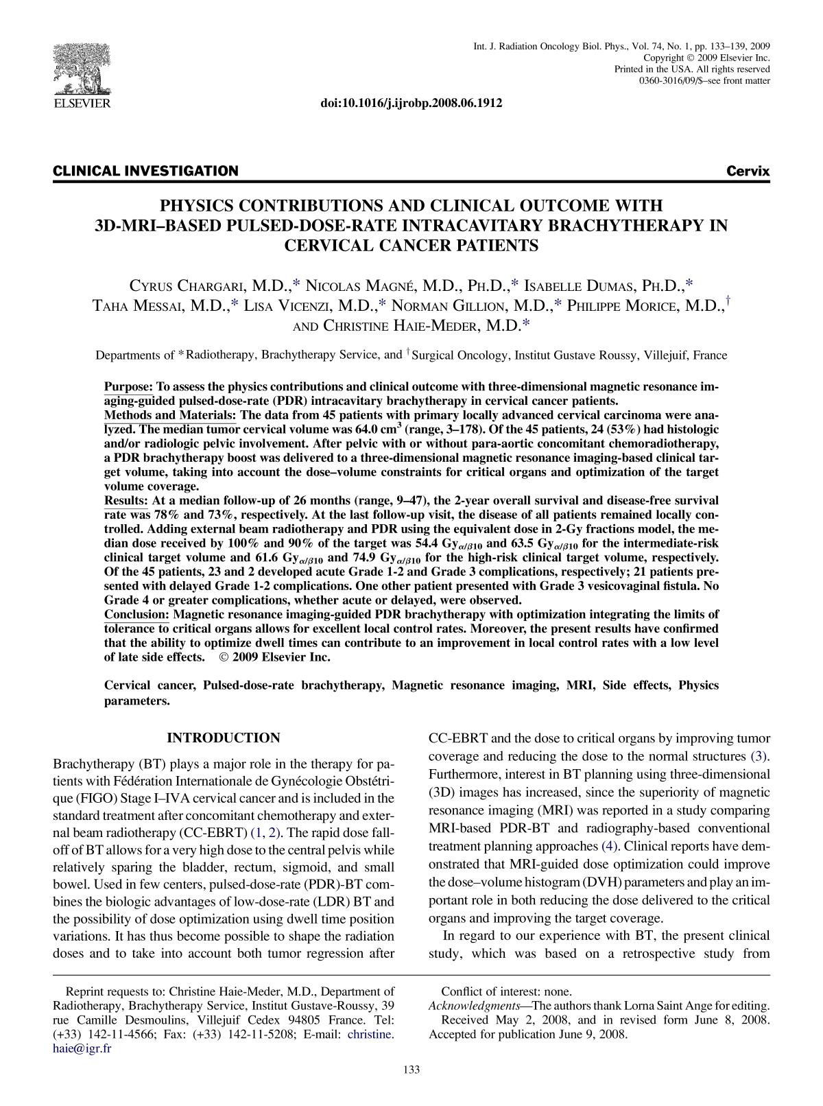 Couverture Physics Contributions and Clinical Outcome With 3D-MRI–Based Pulsed-Dose-Rate Intracavitary Brachytherapy in Cervical Cancer Patients