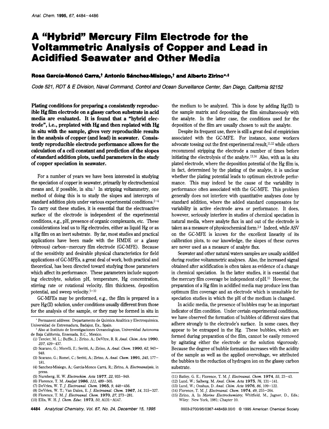 """Book cover A """"Hybrid"""" Mercury Film Electrode for the Voltammetric Analysis of Copper and Lead in Acidified Seawater and Other Media"""