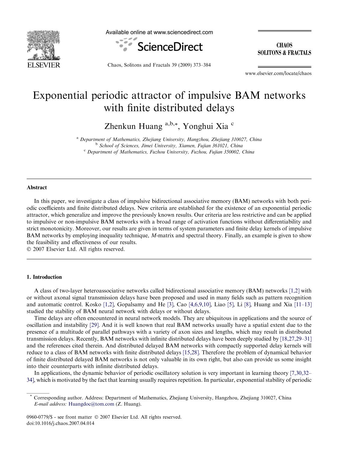 Book cover Exponential periodic attractor of impulsive BAM networks with finite distributed delays
