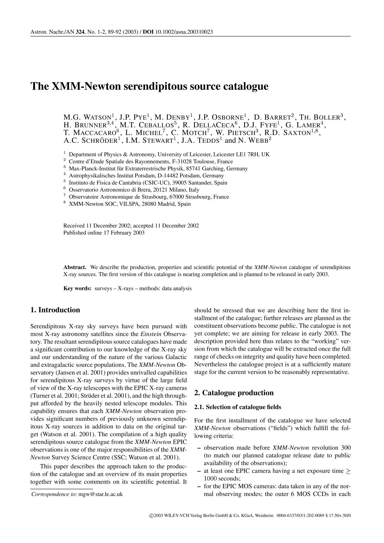 Book cover The XMM-Newton serendipitous source catalogue
