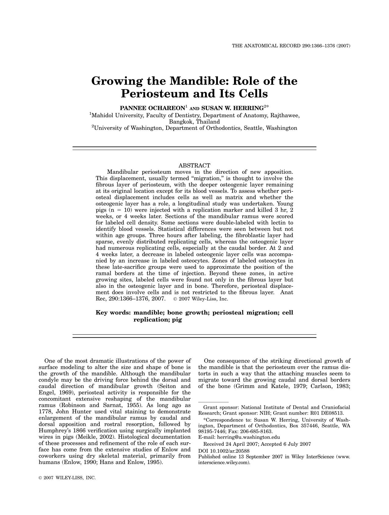 Book cover Growing the Mandible: Role of the Periosteum and its Cells