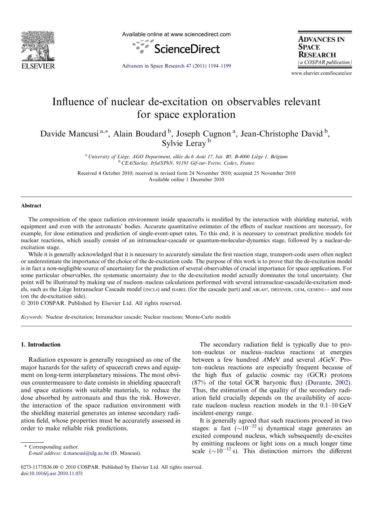 Book cover Influence of nuclear de-excitation on observables relevant for space exploration