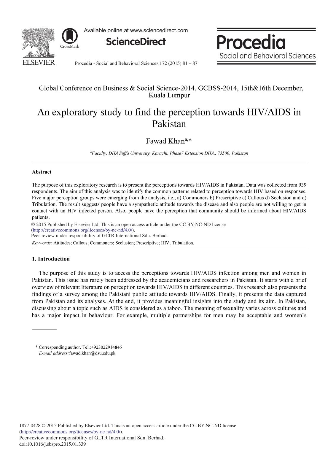 Book cover An Exploratory Study to Find the Perception Towards HIV/AIDS in Pakistan